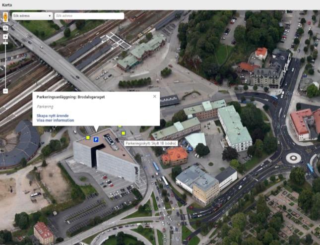 Anslutna skyltar och P-anläggningar presenteras med aktuell status på en kartbild (i detta fall Borås).